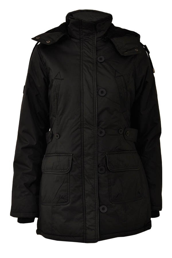 Womens Casual Hooded Parka Coat With Large Pockets And